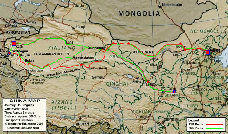Riding For Education Route Across China
